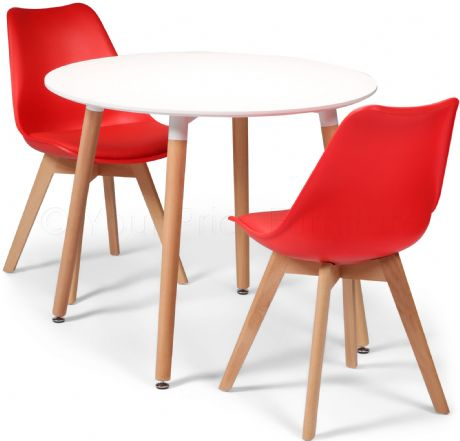 Toulouse Tulip Eiffel Designer Dining Set White Round Table & 2 Red Chairs Sale Now On Your Price Furniture